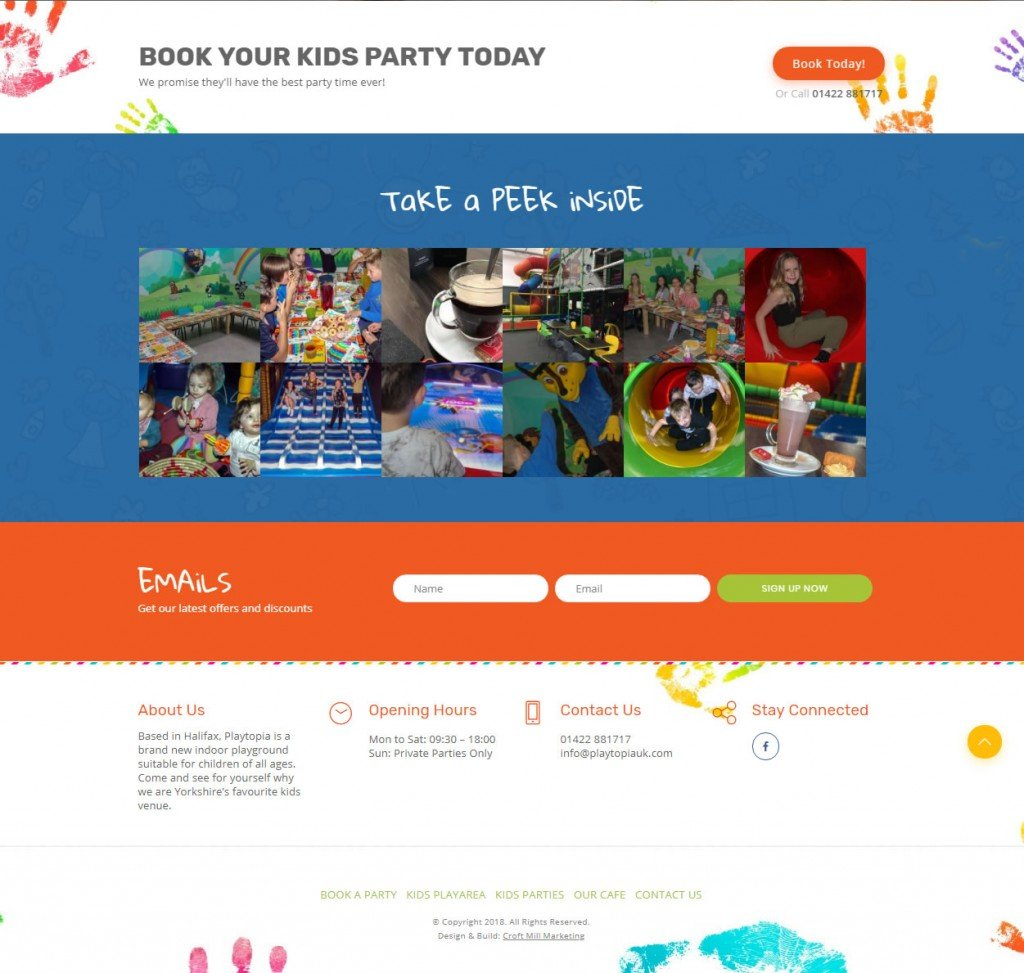 web design of playtopia homepage showing the take a peek section