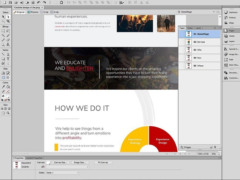 screen shot of website design in adobe fireworks
