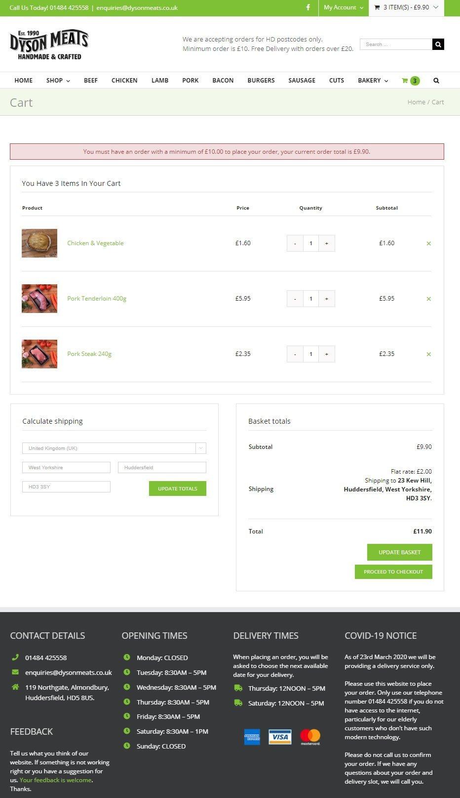 website cart for butchers