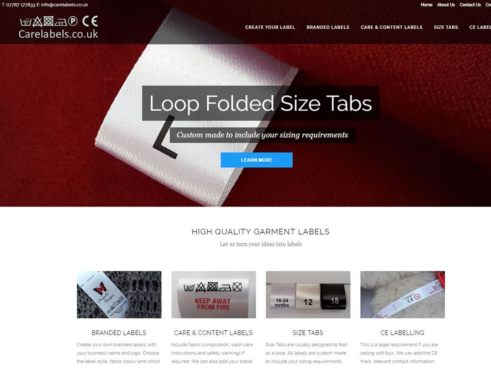 website design for carelabels in brighouse