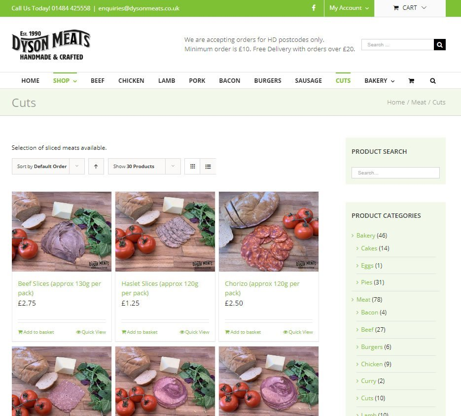 website for butchers shop