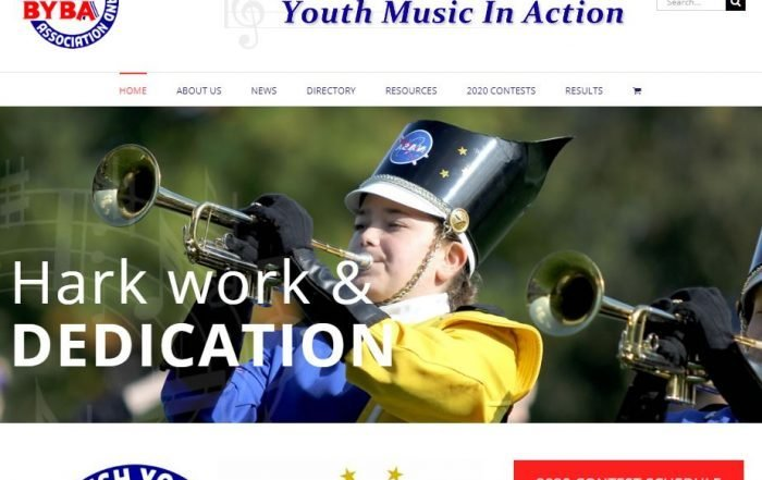 charity website for BYBA screenshot
