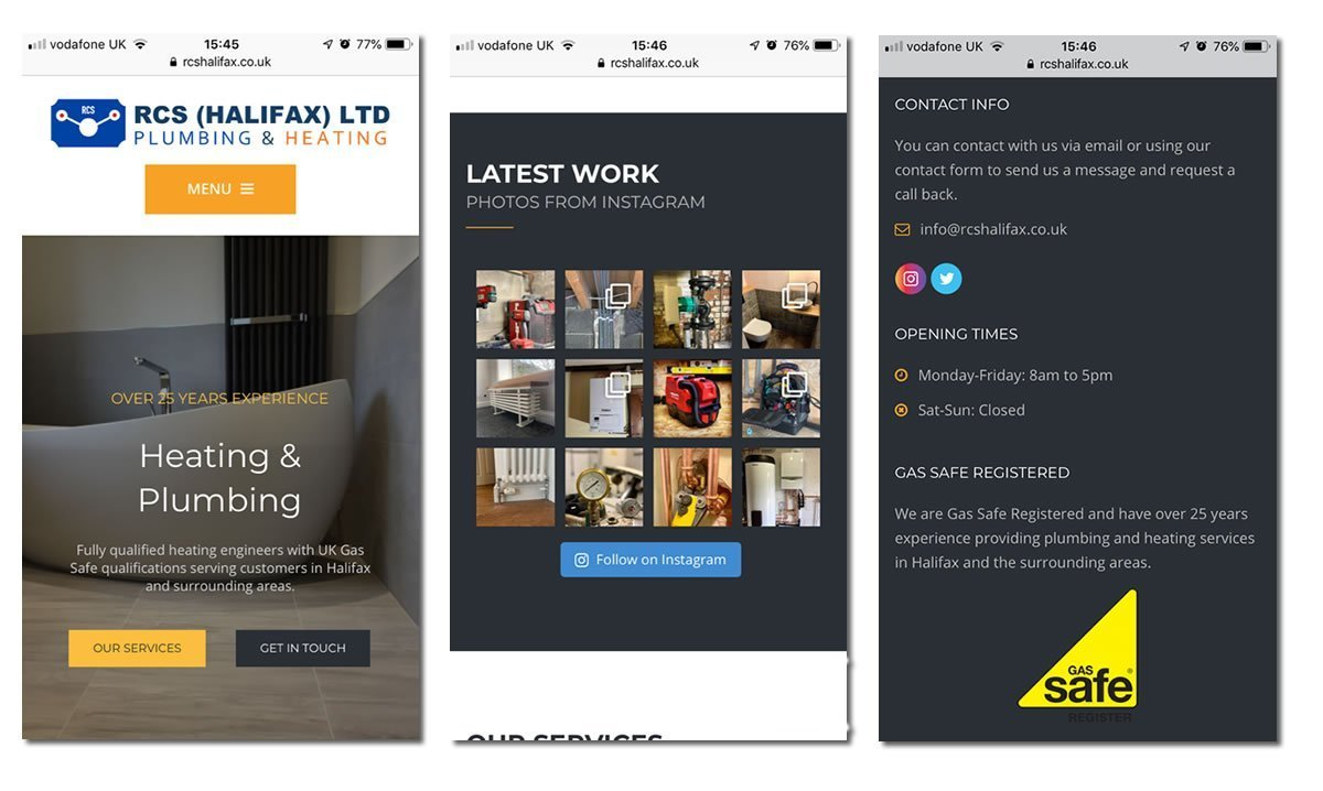 mobile screen shots of plumbers website