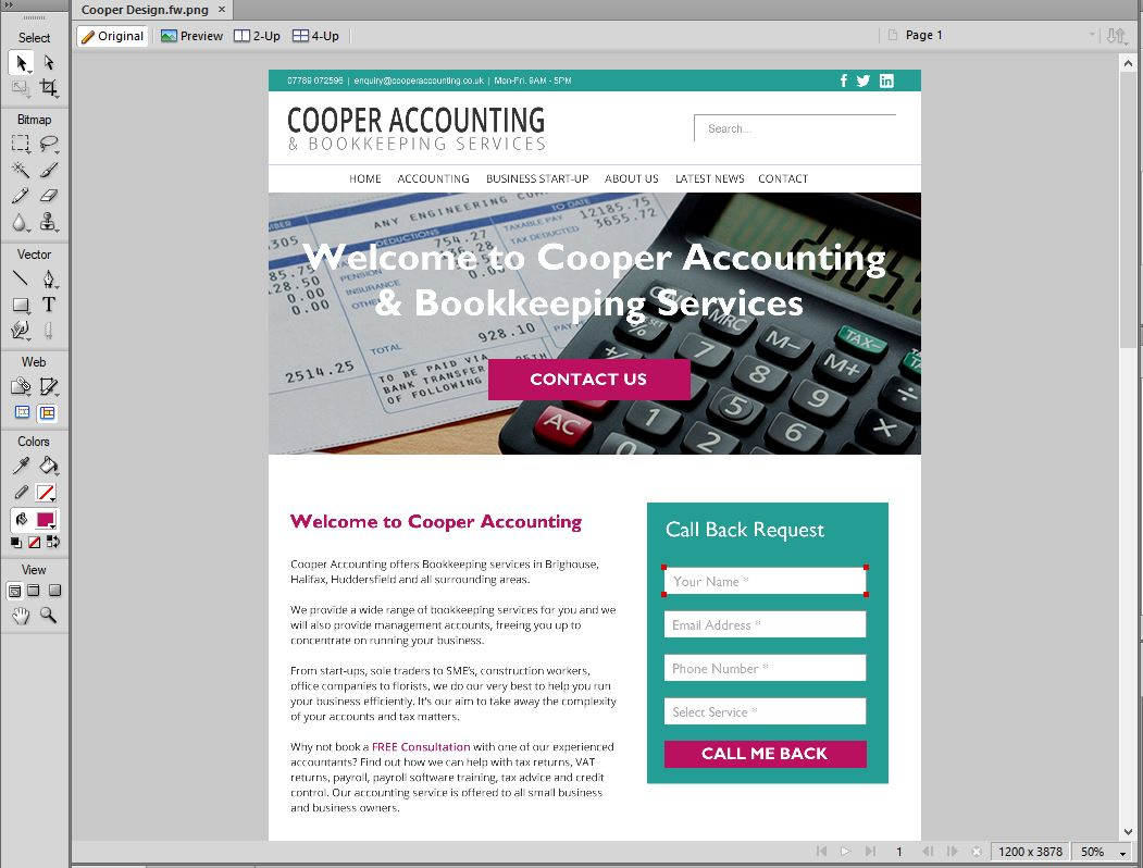 website design for accountants screen shot