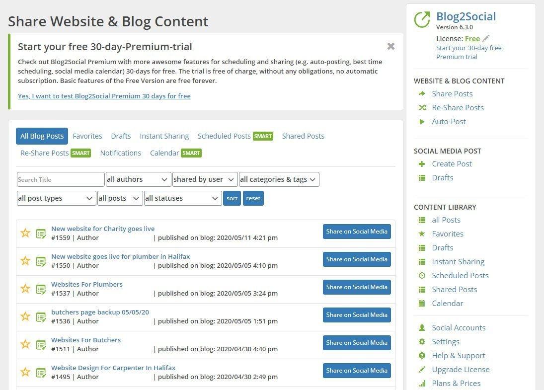 wordpress social post plugin screen shot